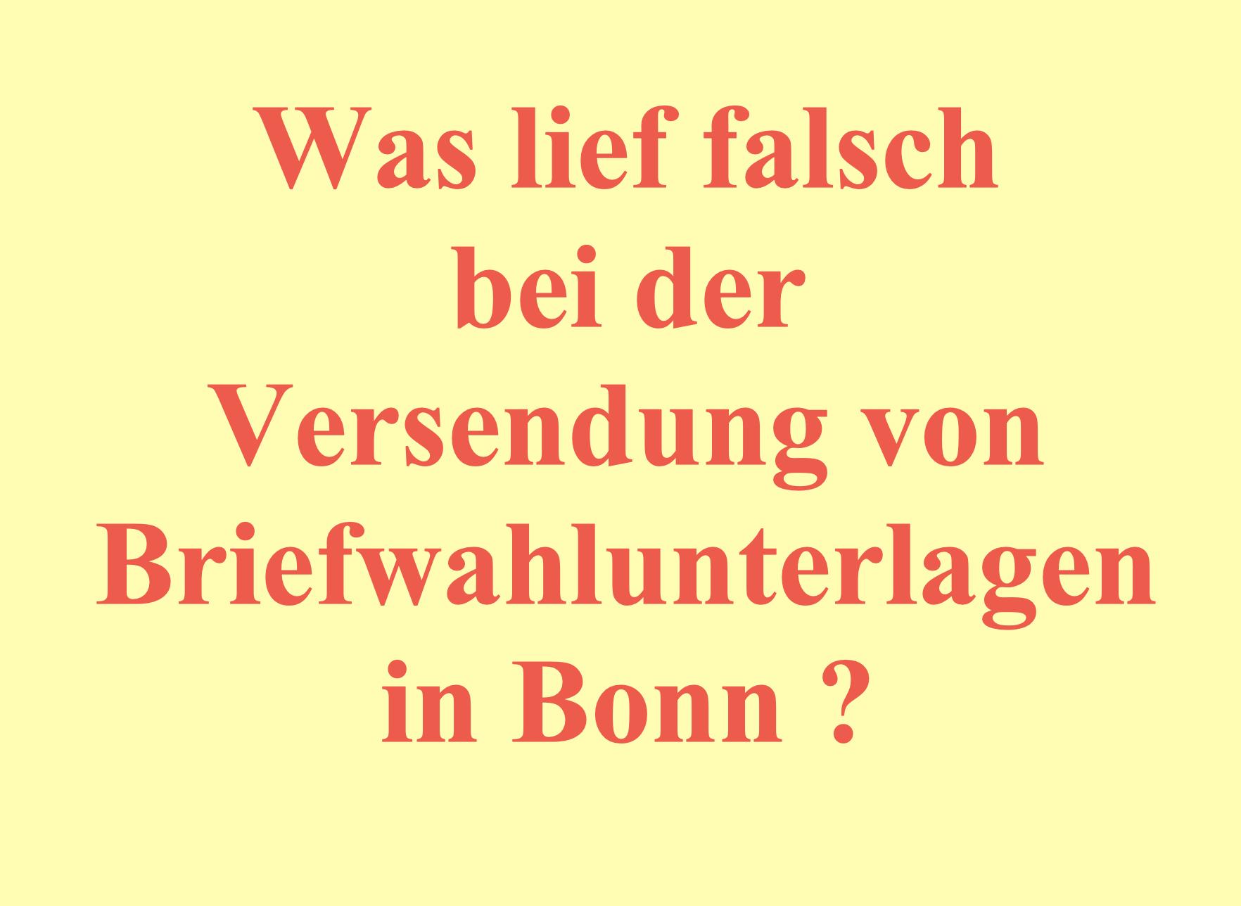 BEI DER BONNER OB-STICHWAHL ERHIELTEN